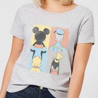 Disney Mickey Mouse Donald Duck Mickey Mouse Pluto Goofy Tiles Women's T-Shirt - Grey - XXL - Grey from Mickey Mouse
