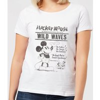 Disney Mickey Mouse Retro Poster Wild Waves Women's T-Shirt - White - XXL - White from Mickey Mouse