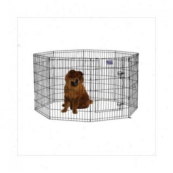 Midwest 550-24DR Black E-Coat Pet Exercise Pen with Walk-Thru Door 8 Panels from Midwest