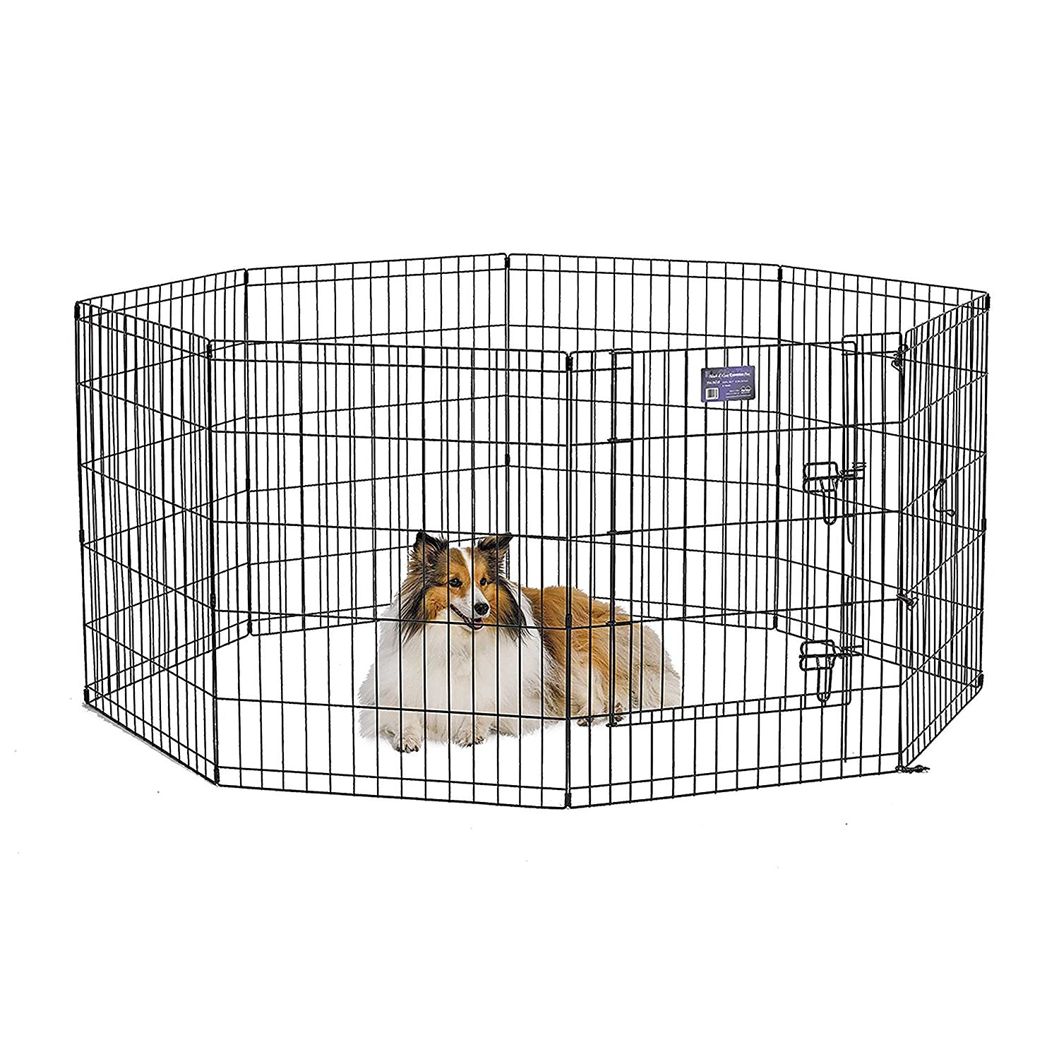 Midwest 552-30DR Black E-Coat Pet Exercise Pen with Walk-Thru Door 8 Panels from Midwest