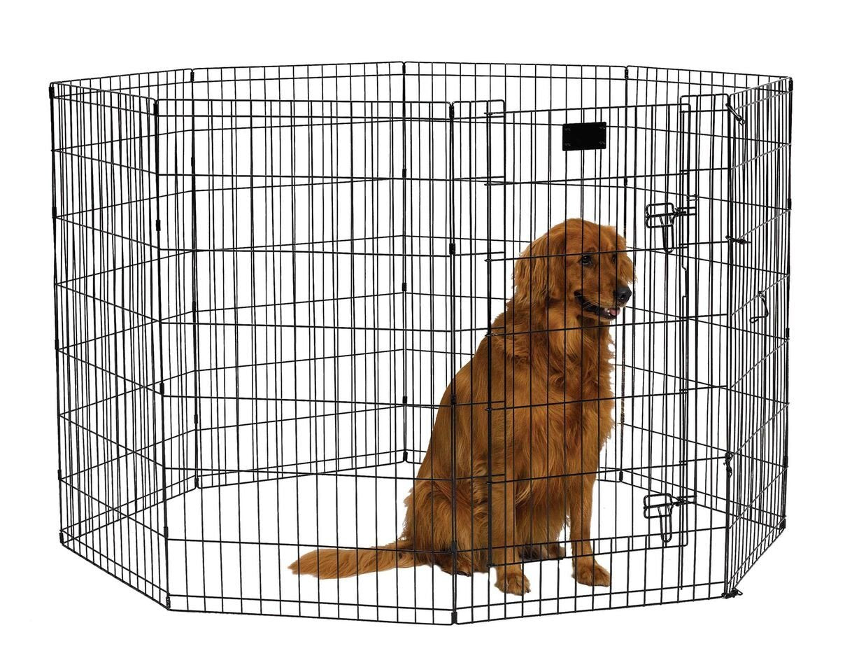 Midwest 556-42DR Black E-Coat Pet Exercise Pen with Walk-Thru Door 8 Panels from Midwest