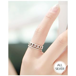 Chain Silver Open Ring from Miss21 Korea