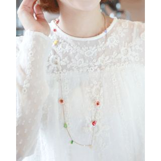 Flower Bead Long Chain Necklace from Miss21 Korea
