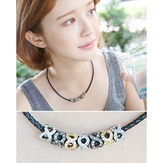 Rhinestone-Charm Braided Faux-Leather Necklace from Miss21 Korea