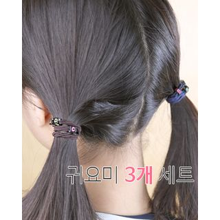 Set of 3: Letter Cube Bead Hair Tie from Miss21 Korea