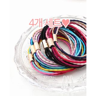 Set of 4: Multicolor Multi-Strand Hair Tie One Size from Miss21 Korea