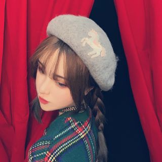 Unicorn Applique Beret from Miu B
