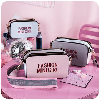 Lettering Faux Leather Crossbody Bag from Momoi