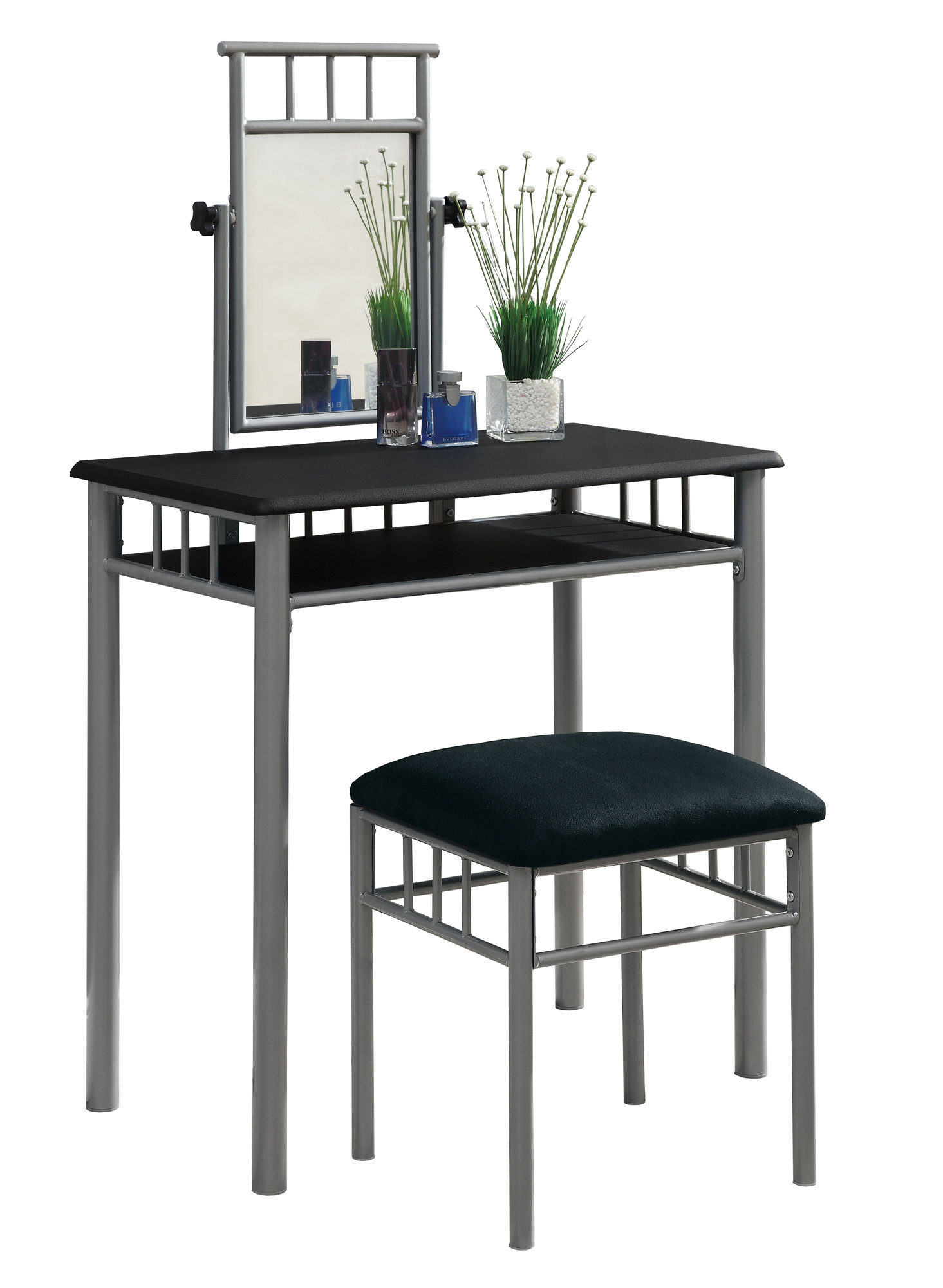 Monarch 2-Piece Modern Grey Metal Frame Vanity Makeup Table Set with Padded Bench Seat and Mirror - Black Finish from Monarch