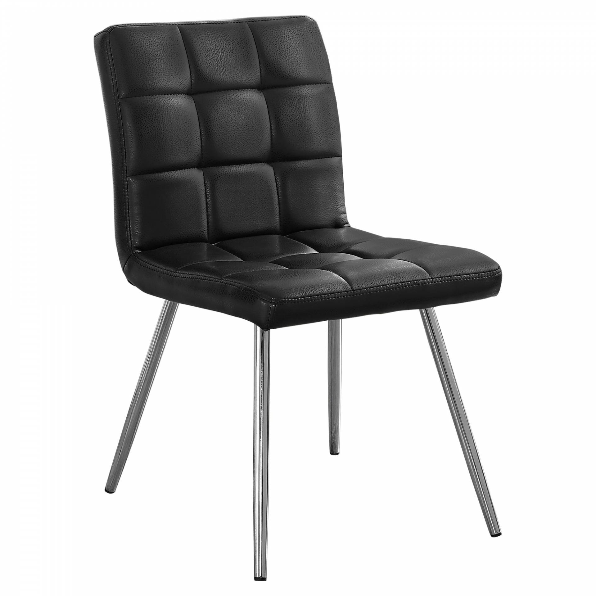 Monarch 2 Piece Quilted PU Leather Chrome Metal Legged Modern Dining Chair Set - Black from Monarch