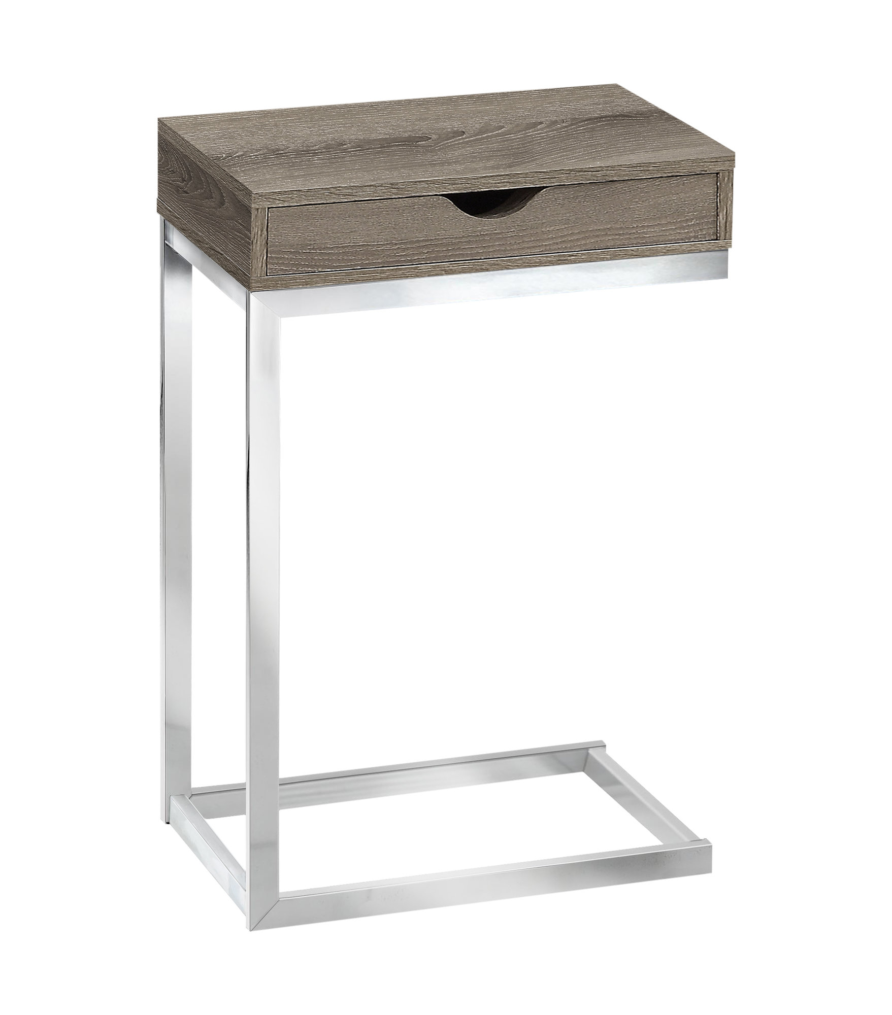 "Monarch 25"" Contemporary Polished Chrome Metal Frame C-Shaped Side Accent Table with Storage Drawer - Dark Taupe Finish from Monarch"