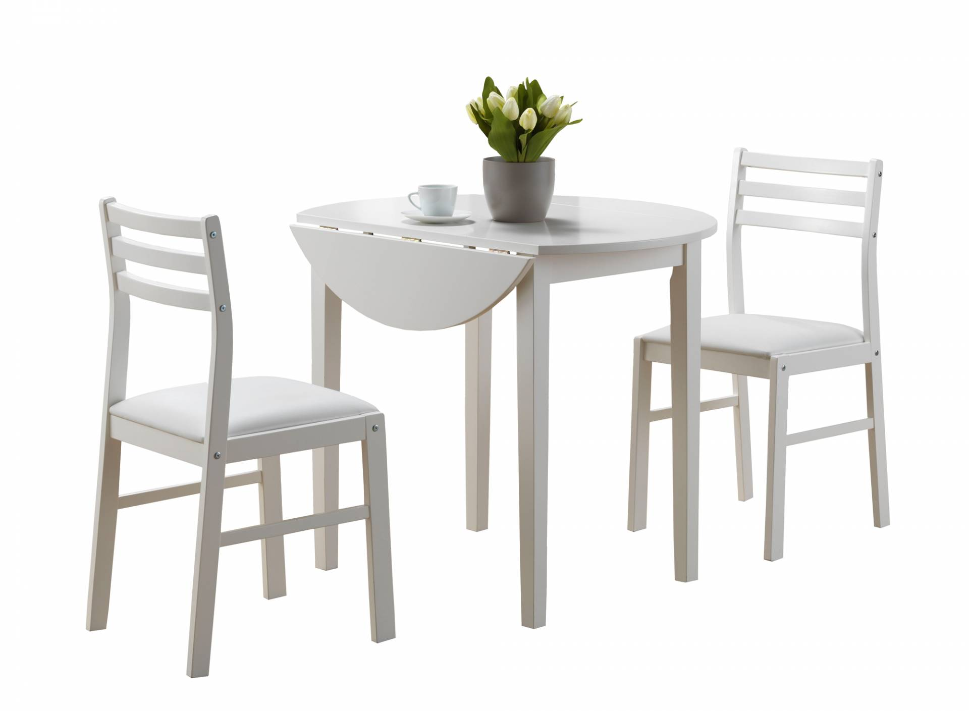 "Monarch 3 Piece 36"" Round Wooden Drop Leaf Table and Chairs Dining Set - White from Monarch"