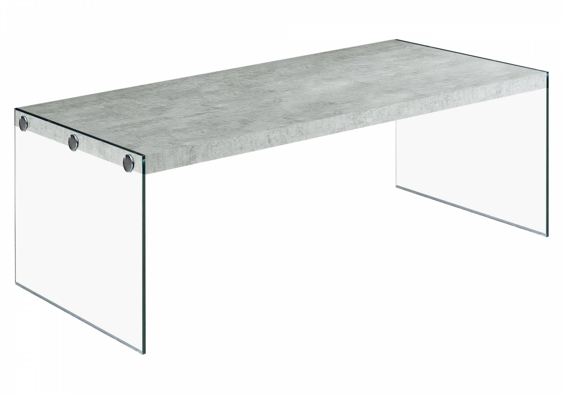 "Monarch 44"" Contemporary Tempered Glass Base Accent Coffee Table - Grey Cement-Look Top Finish from Monarch"