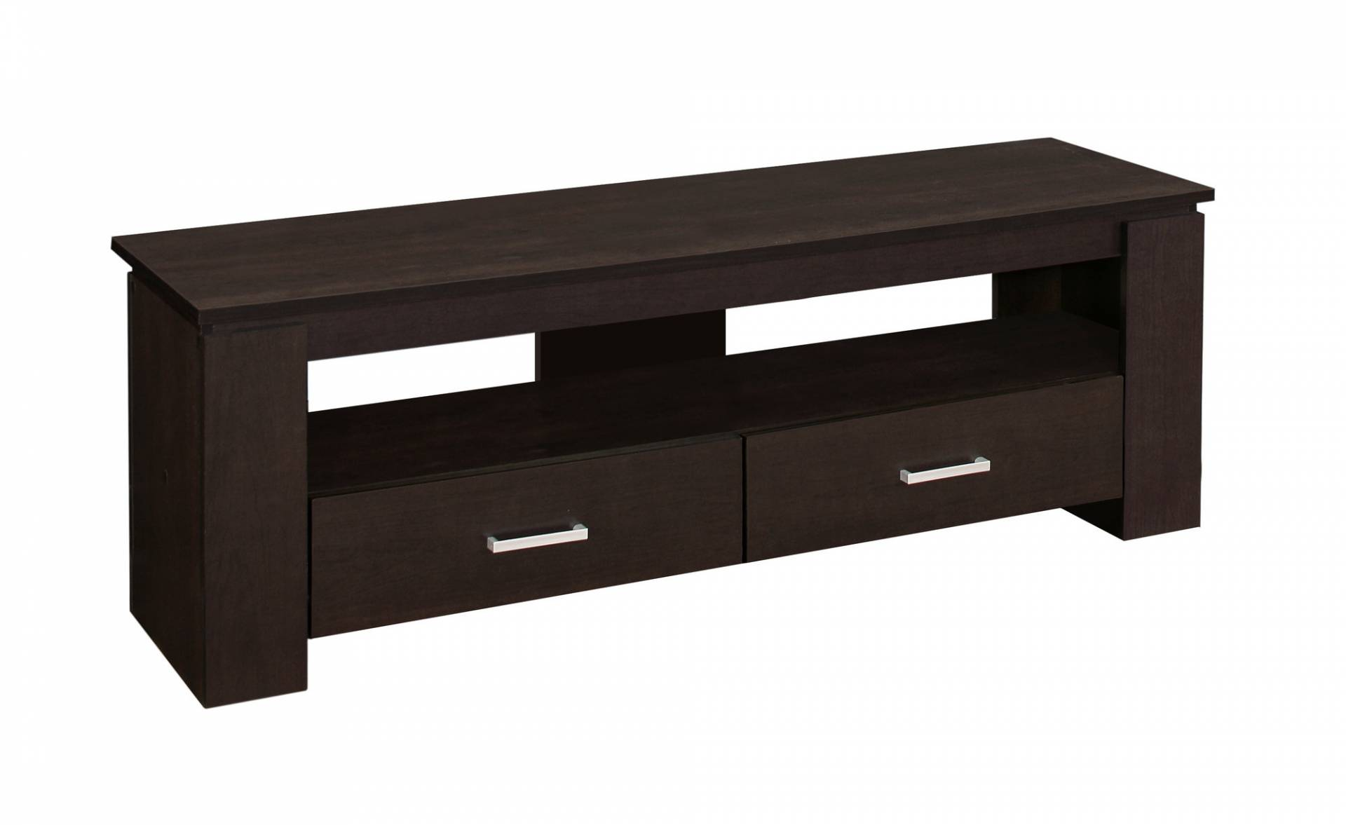 "Monarch 48"" Modern Wood Grain-Look Open Storage Shelf 2-Drawer Console TV Stand - Cappuccino Brown Finish from Monarch"