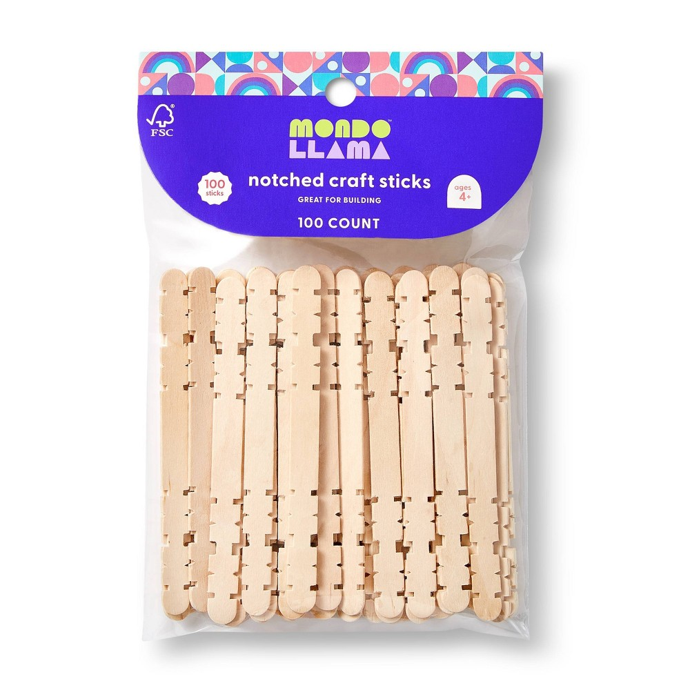 100ct Notched Craft Sticks Natural - Mondo Llama from Mondo Llama