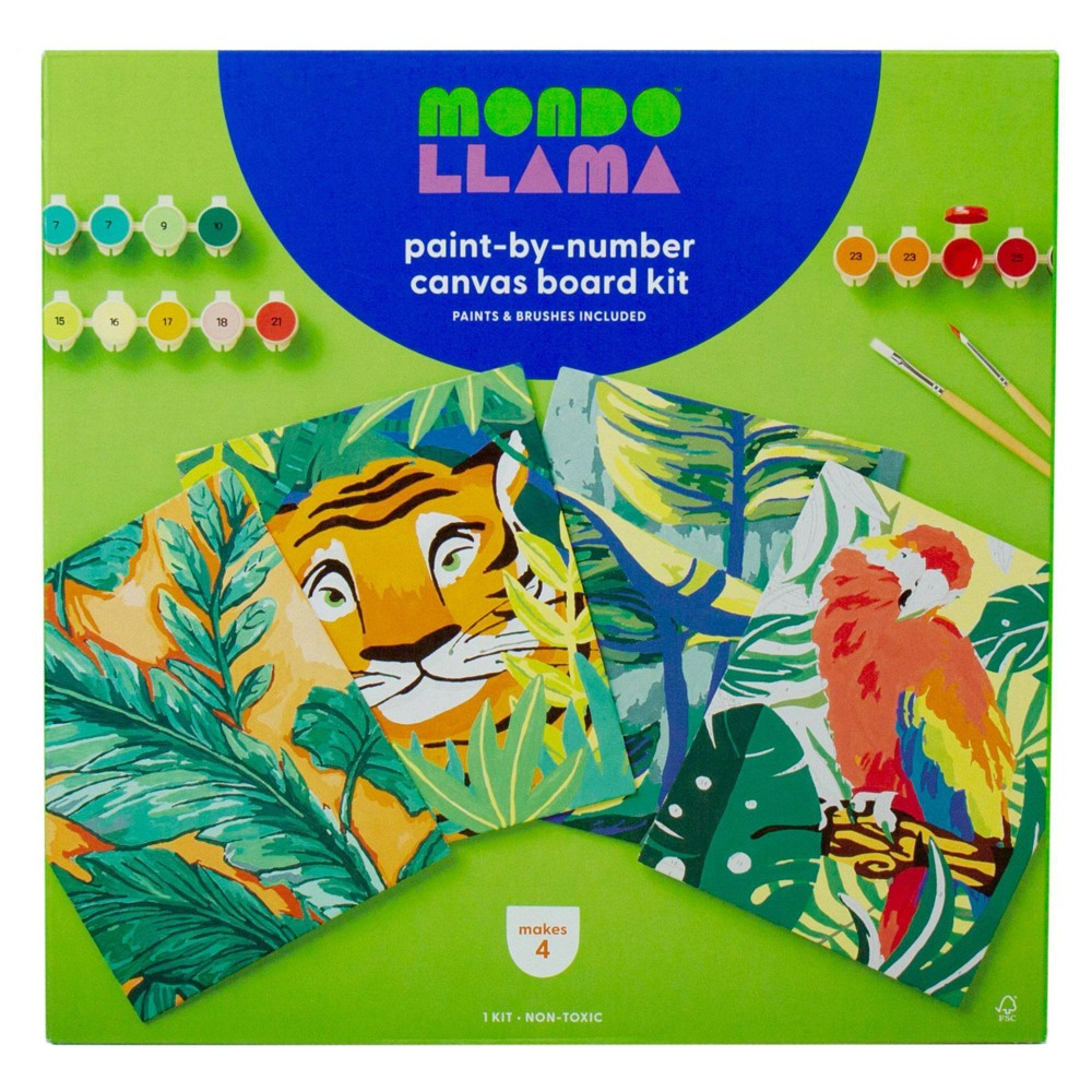 4pk Paint-By-Number Canvas Board Kit Jungle - Mondo Llama from Mondo Llama