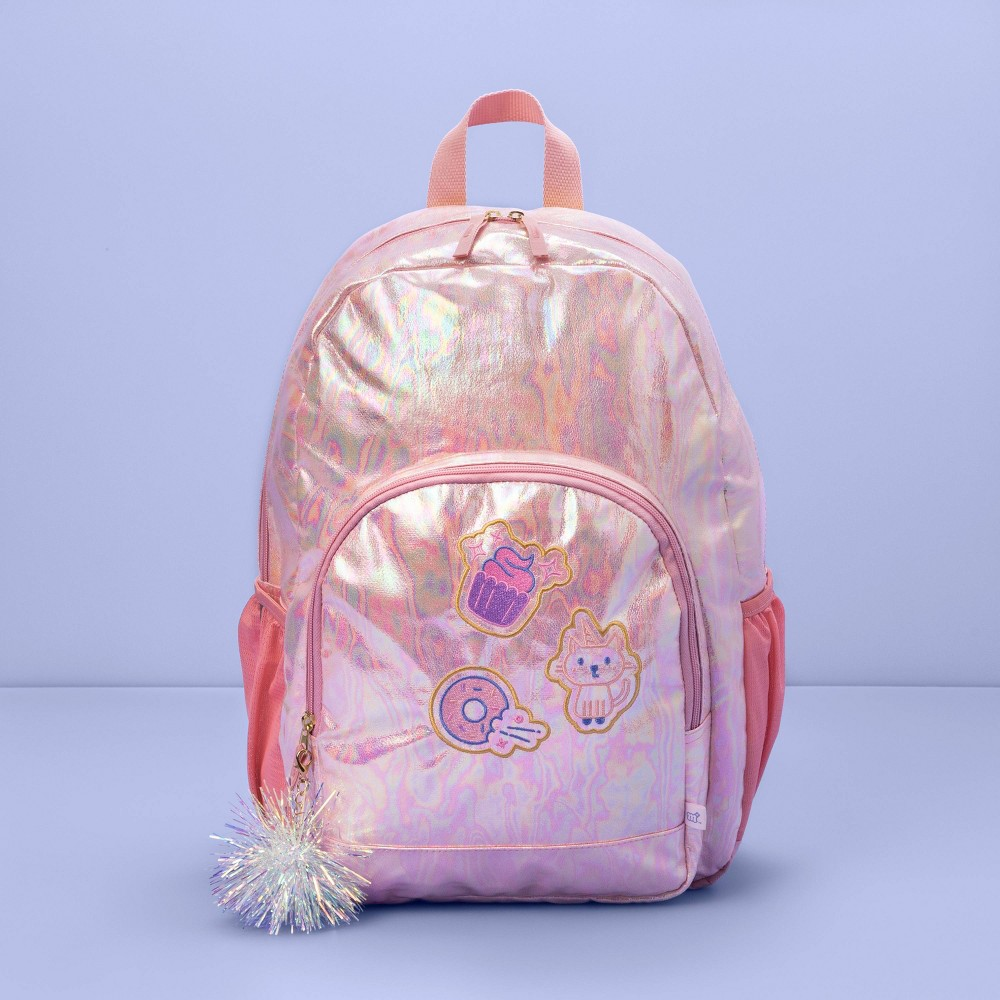 "17"" Kids' Backpack Pink Iridescent with Patches - More Than Magic from More than Magic"