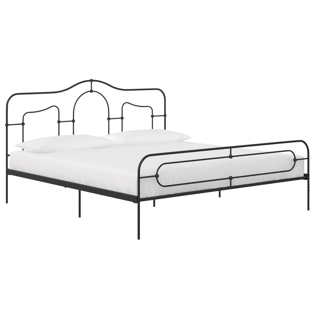 King Size Primrose Metal Bed Frame With Secured Slats Headboard and Footboard Black - Mr. Kate from Mr. Kate