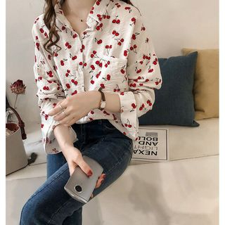 Cherry Printed Loose Fit Blouse from Muezz