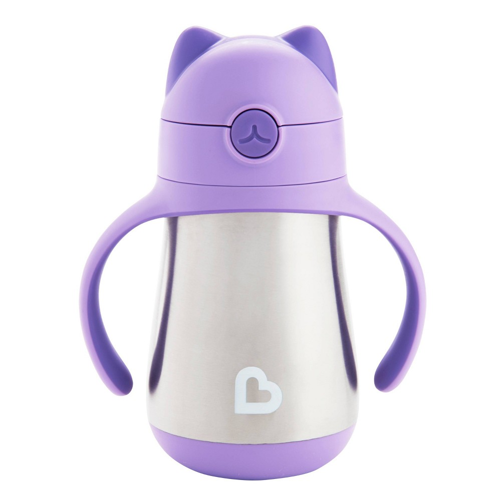Munchkin Cool Cat Stainless Steel Straw Cup 8oz - Purple from Munchkin