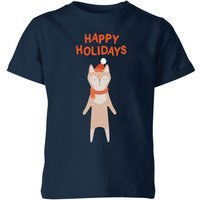 Happy Holidays Kids' T-Shirt - Navy - 11-12 Years - Navy from My Little Rascal