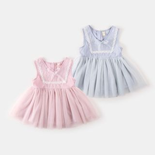 Kids Lace Trim Sleeveless A-Line Dress from My Olie Baby