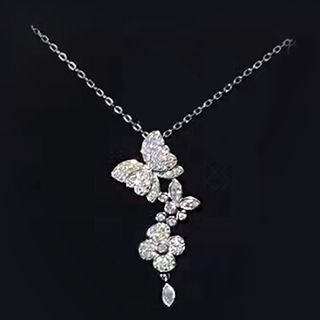 Rhinestone Butterfly Pendant Necklace White - One Size from NABO