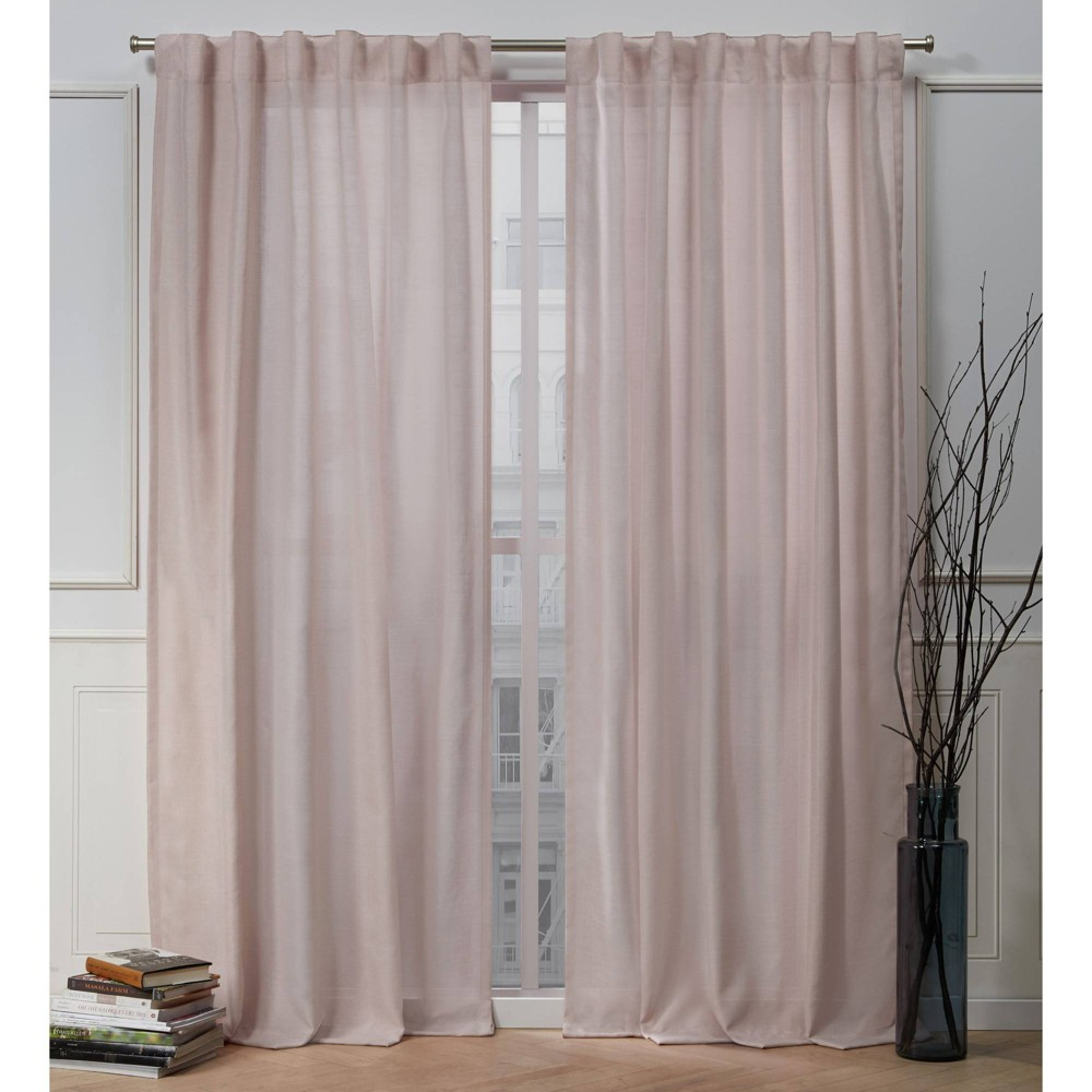 "84""x54"" Faux Linen Slub Back Tab Light Filtering Window Curtain Panels Blush Pink - Nicole Miller from Nicole Miller"