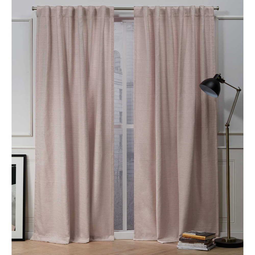 "84""x54"" Mellow Slub Back Tab Light Filtering Window Curtain Panels Blush Pink - Nicole Miller from Nicole Miller"
