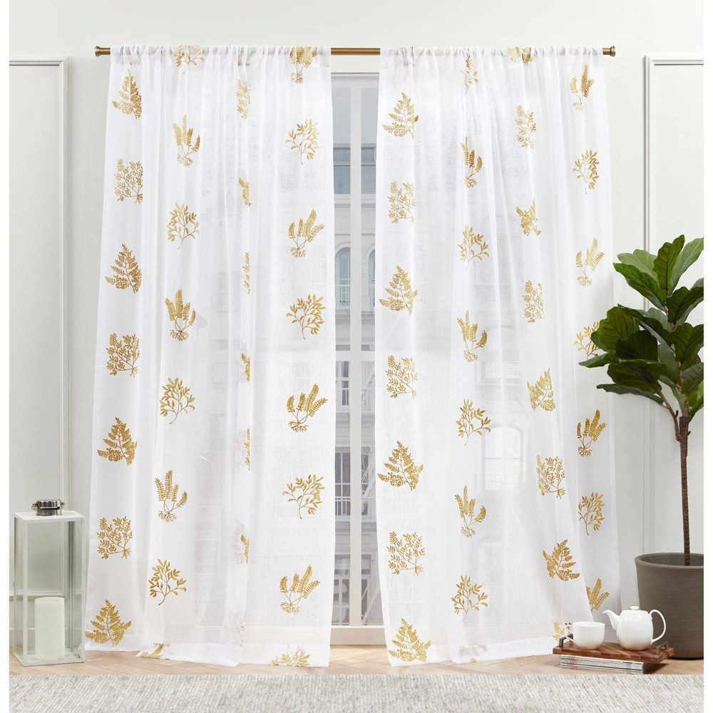 "Set of 2 (108""x54"") New York Mabel Sheer Rod Pocket Curtain Panels Gold - Nicole Miller from Nicole Miller"