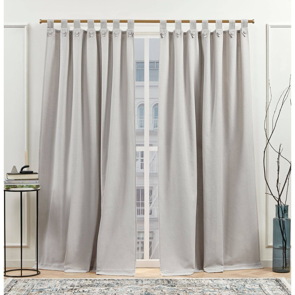 "Set of 2 (108""x54"") New York Peterson Light Filtering Tuxedo Tab Top Curtain Silver - Nicole Miller from Nicole Miller"