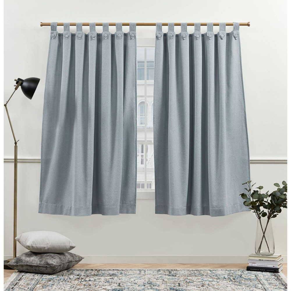 "Set of 2 (108""x54"") New York Peterson Light Filtering Tuxedo Tab Top Curtain Slate Blue - Nicole Miller from Nicole Miller"