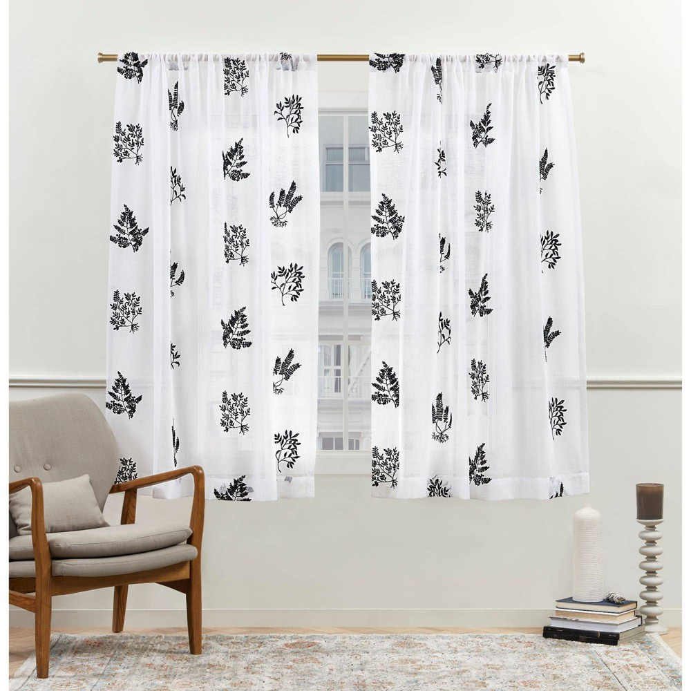 "Set of 2 (63""x54"") New York Mabel Sheer Rod Pocket Curtain Panels Black - Nicole Miller from Nicole Miller"