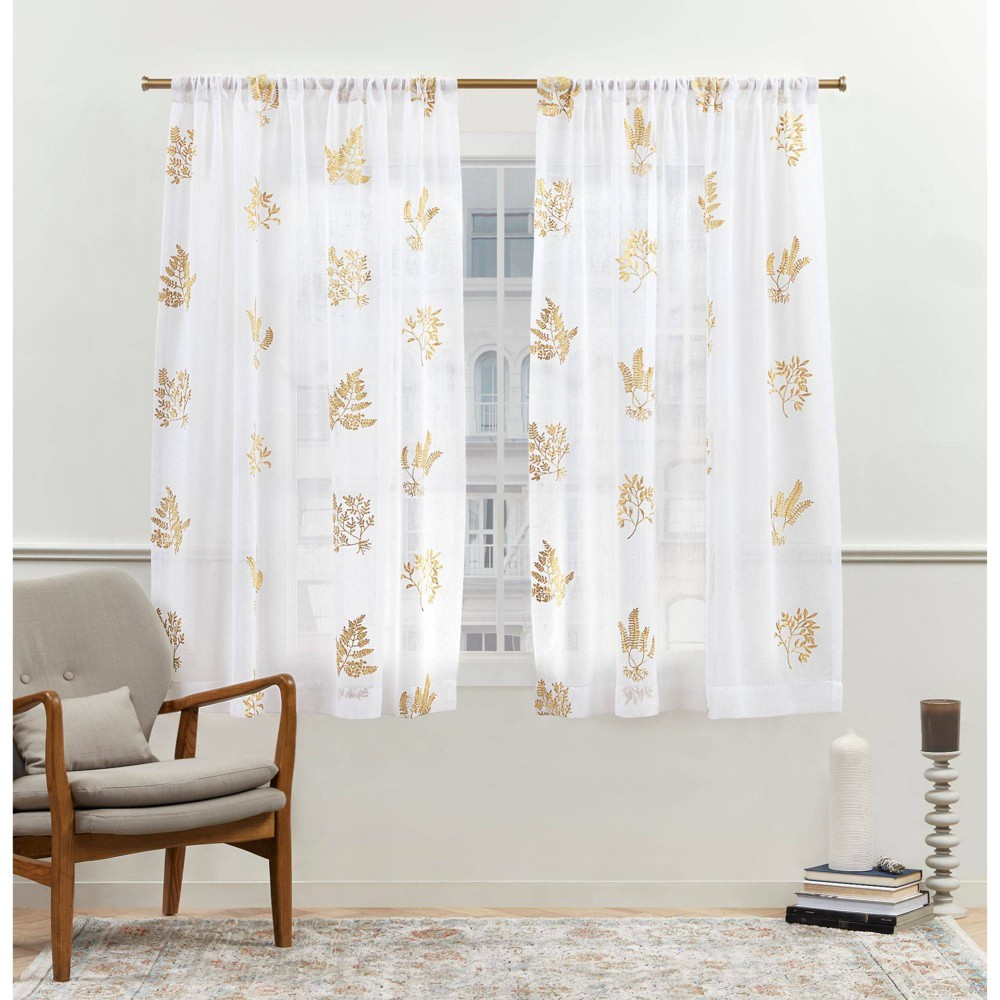 "Set of 2 (63""x54"") New York Mabel Sheer Rod Pocket Curtain Panels Gold - Nicole Miller from Nicole Miller"