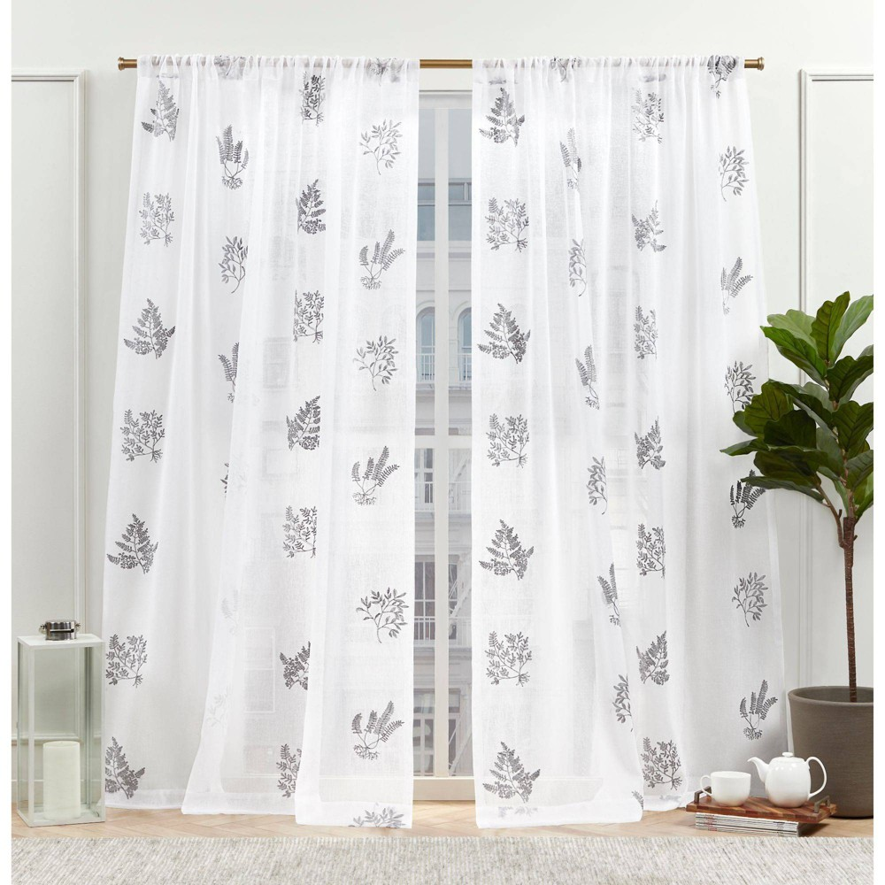 "Set of 2 (84""x54"") New York Mabel Sheer Rod Pocket Curtain Panels Gray - Nicole Miller from Nicole Miller"