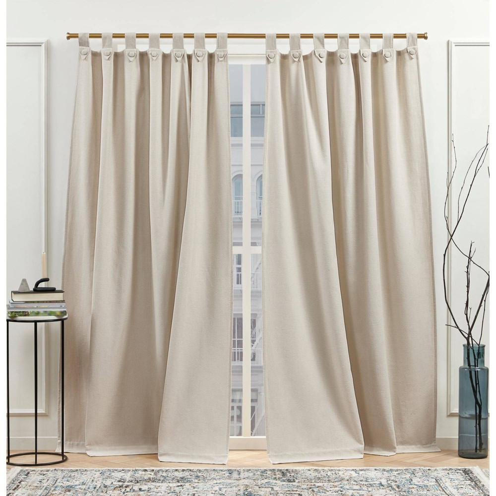 "Set of 2 (84""x54"") New York Peterson Light Filtering Tuxedo Tab Top Curtain Natural - Nicole Miller from Nicole Miller"
