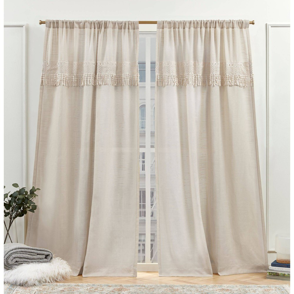 "Set of 2 (96""x50"") New York Dunbar Rod Pocket Light Filtering Curtain Panels Natural - Nicole Miller from Nicole Miller"
