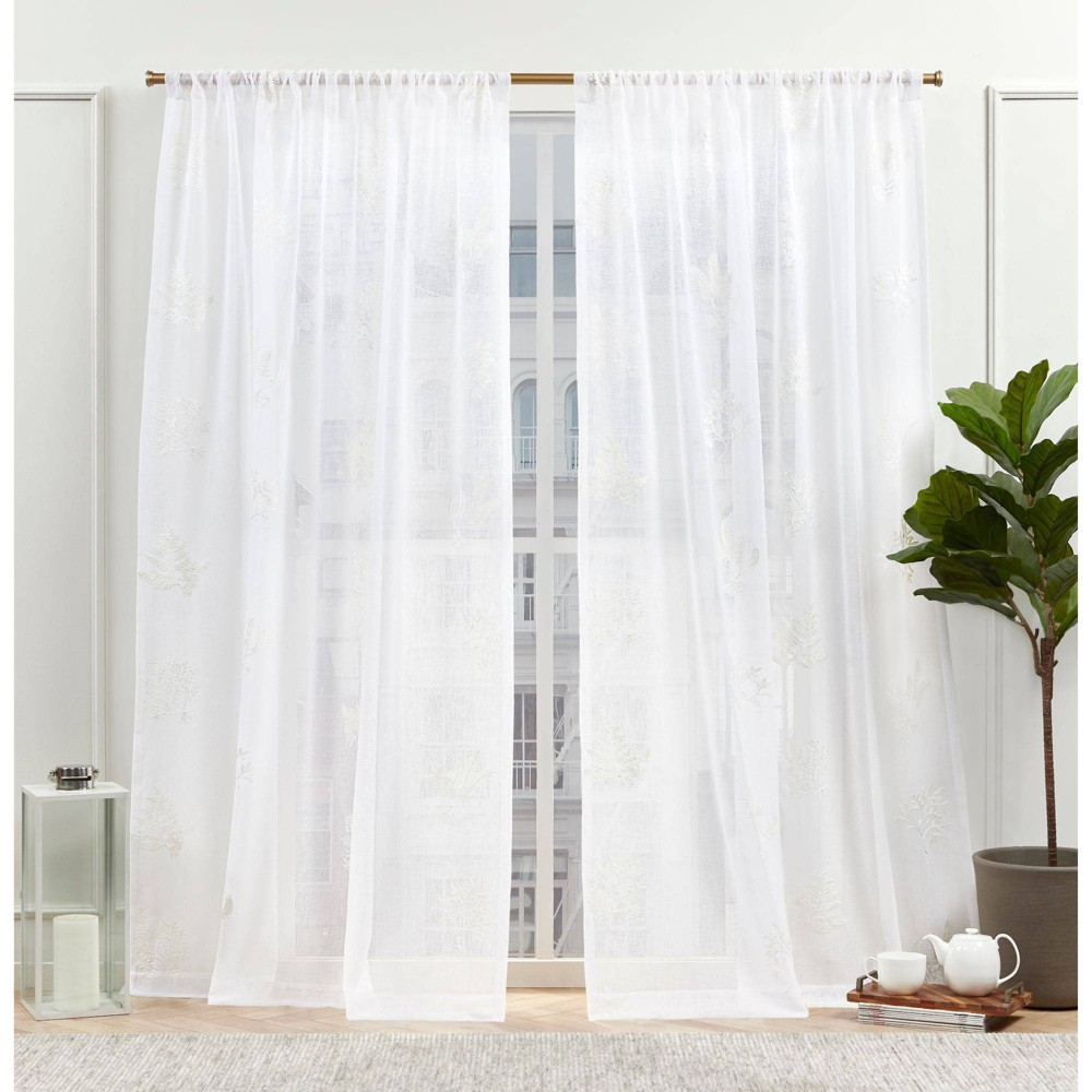 "Set of 2 (96""x54"") New York Mabel Sheer Rod Pocket Curtain Panels White - Nicole Miller from Nicole Miller"