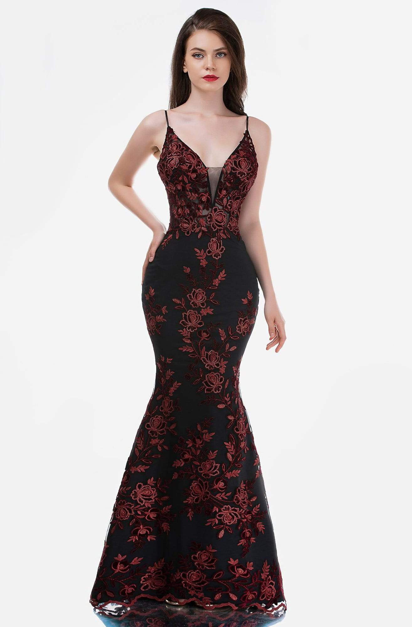 Nina Canacci - 2240 V-Neck Embroidered Long Dress from Nina Canacci
