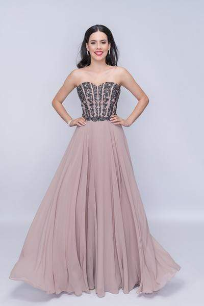 Nina Canacci - 3140 Beaded Corset Sweetheart Bodice Evening Gown from Nina Canacci