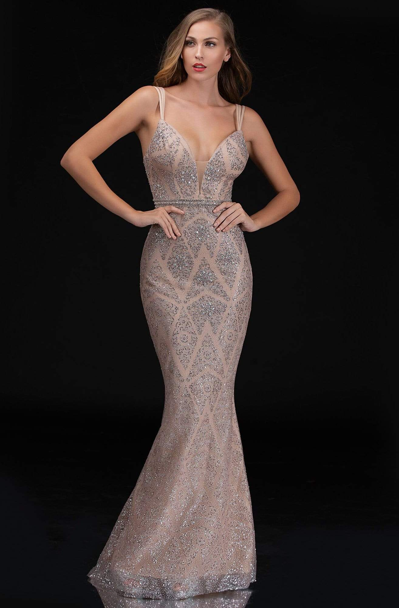 Nina Canacci - 8181 V-Neck Embellished Long Trumpet Dress from Nina Canacci