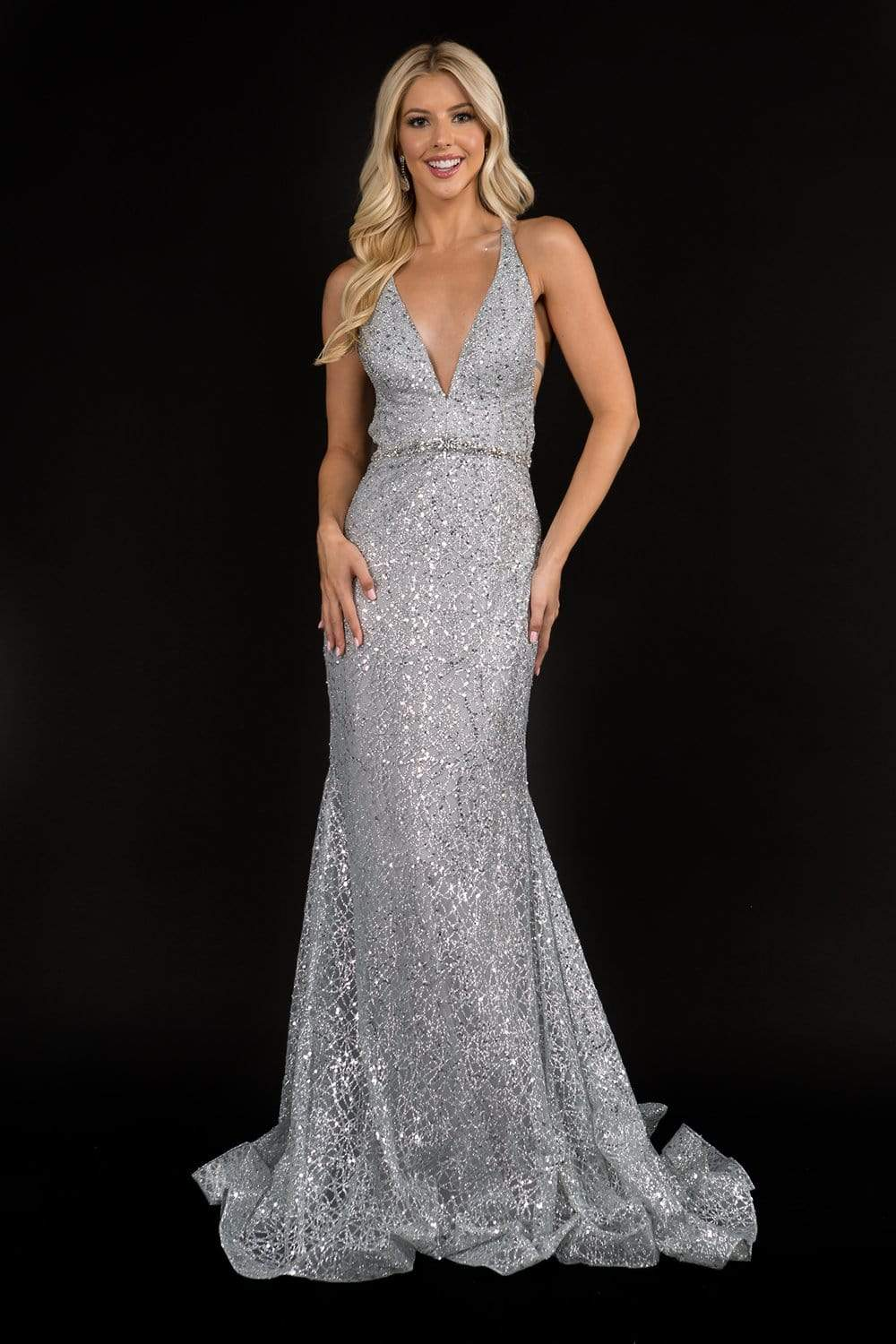 Nina Canacci - 8197 Sequined Jeweled Waist Mermaid Gown from Nina Canacci