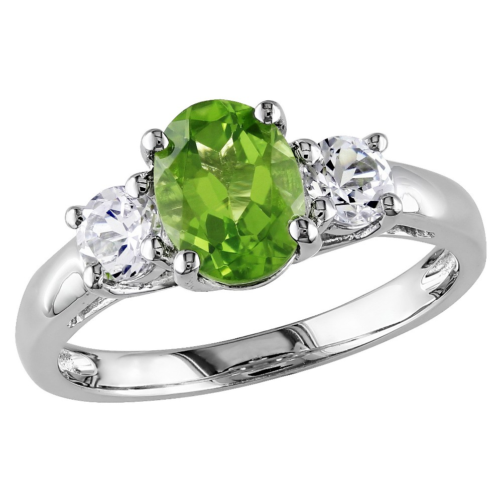1.25 CT. T.W. Peridot and .64 CT. T.W. Sapphire 4-Prong Setting Ring in Sterling Silver - 9 - Green from No Brand