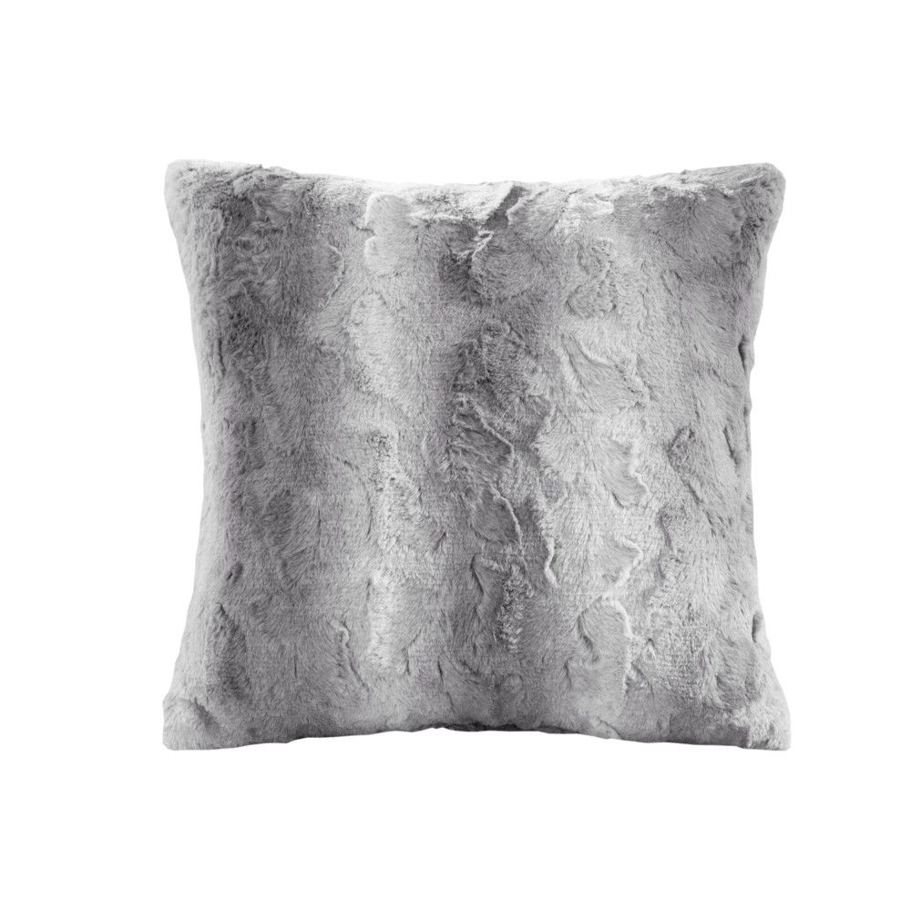 "20""x20"" Marselle Faux Fur Square Throw Pillow Gray from No Brand"