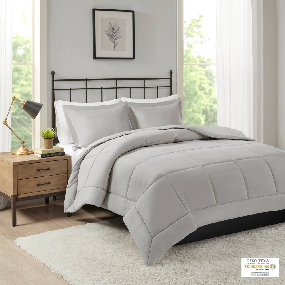 Belford Microcell Down Alternative Comforter Set (King/California King) Gray - 3pc from No Brand