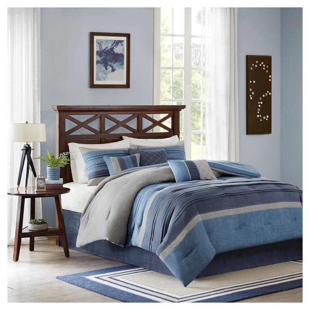 Comforter Set Queen 7pc Navy Colorblock- Rodgers from No Brand