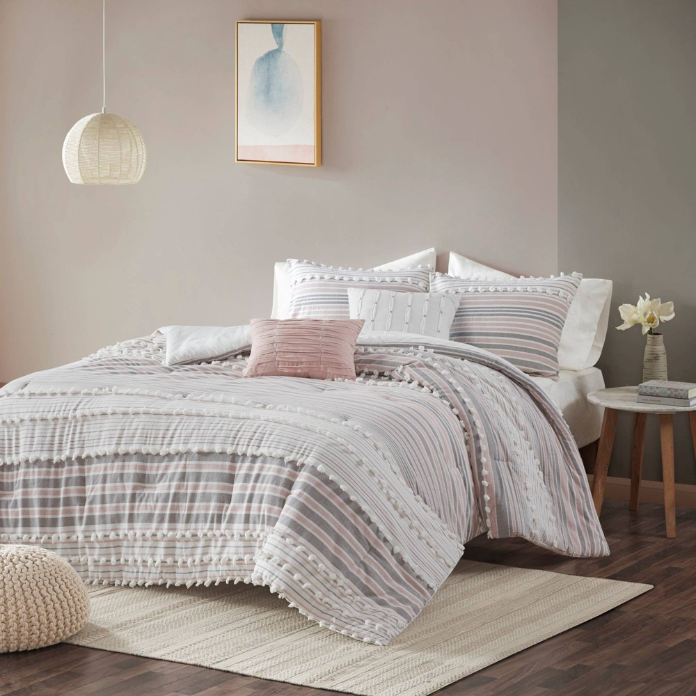 Corey Full/Queen 5pc Cotton Comforter Set Blush from No Brand