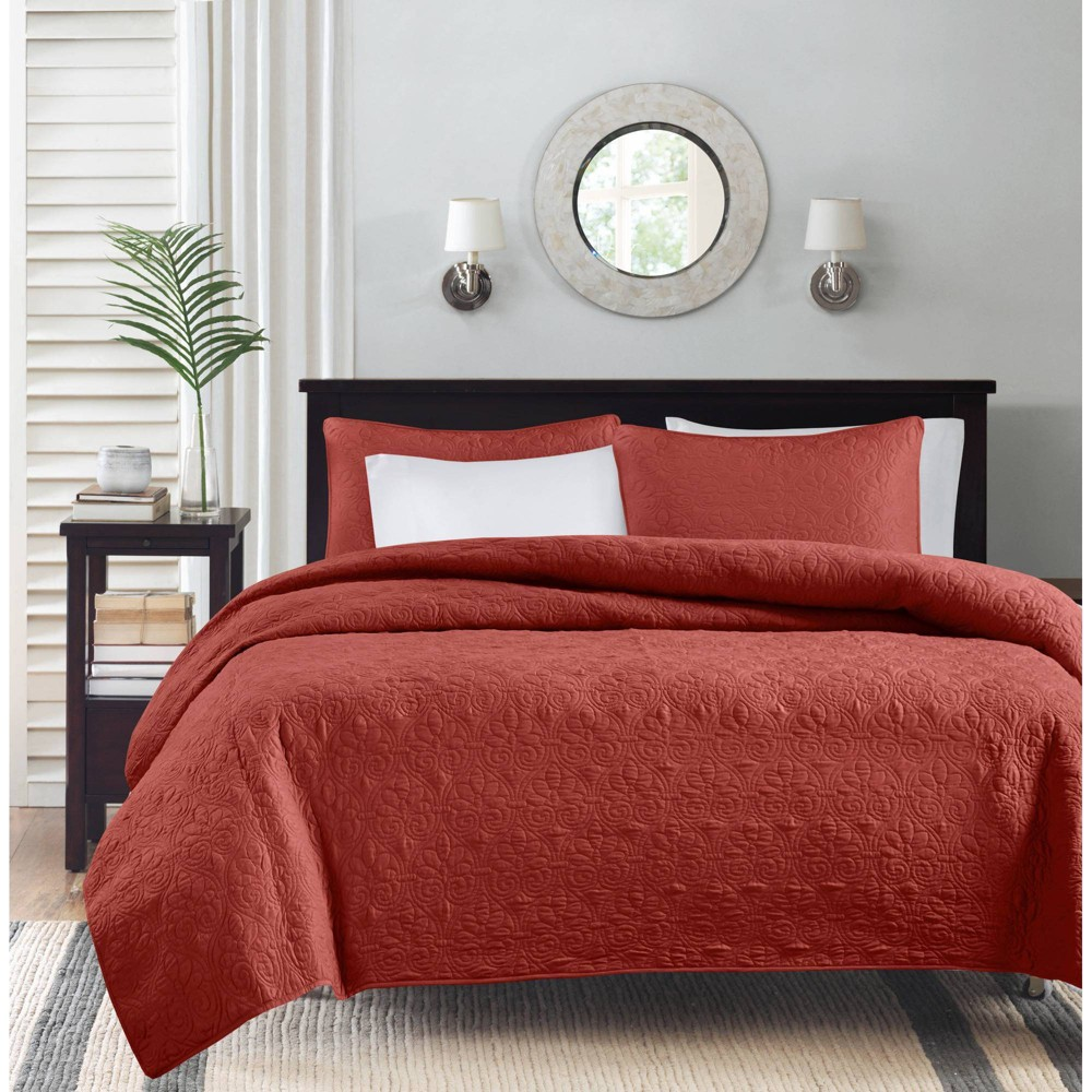 Vancouver Quilted Coverlet Set (King/California King) Red - 3-Piece from No Brand