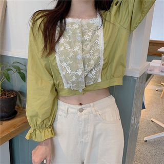 Bell-Sleeve Ruffle Trim Lace Panel Blouse from OGAWA