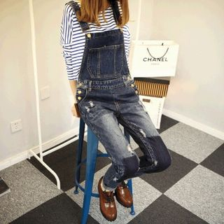 Patchwork Distressed Denim Dungaree from Oaksa